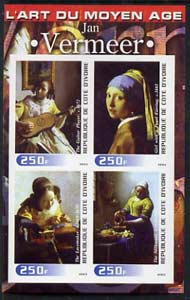 Ivory Coast 2003 Art of the Modern Age - Paintings by Jan Vermeer imperf sheetlet containing 4 values unmounted mint