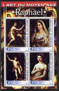 Ivory Coast 2003 Art of the Modern Age - Paintings by Raphael perf sheetlet containing 4 values unmounted mint, stamps on arts, stamps on