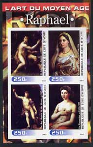 Ivory Coast 2003 Art of the Modern Age - Paintings by Raphael imperf sheetlet containing 4 values unmounted mint