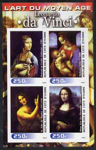 Ivory Coast 2003 Art of the Modern Age - Paintings by Leonardo da Vinci imperf sheetlet containing 4 values unmounted mint