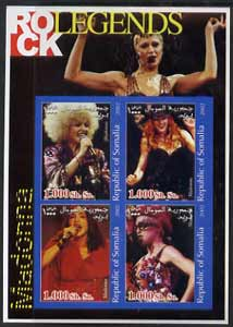 Somalia 2002 Rock Legends - Madonna imperf sheetlet containing set of 4 values unmounted mint, stamps on music, stamps on pops, stamps on women