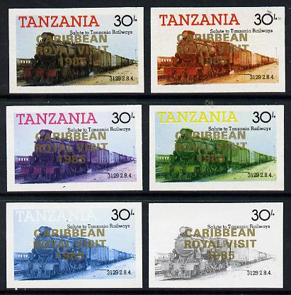 Tanzania 1985 Locomotive 3129 30s value (SG 433) unmounted mint imperf set of 6 progressive colour proofs each with 'Caribbean Royal Visit 1985' opt in gold*