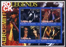 Somalia 2002 Rock Legends - Aerosmith imperf sheetlet containing set of 4 values unmounted mint