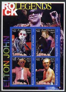 Somalia 2002 Rock Legends - Elton John imperf sheetlet containing set of 4 values unmounted mint