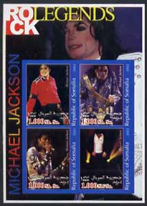 Somalia 2002 Rock Legends - Michael Jackson imperf sheetlet containing set of 4 values unmounted mint