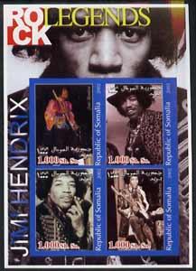 Somalia 2002 Rock Legends - Jimi Hendrix imperf sheetlet containing set of 4 values unmounted mint