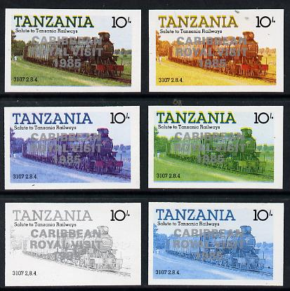 Tanzania 1985 Locomotive 3107 10s value (SG 431) unmounted mint imperf set of 6 progressive colour proofs each with 'Caribbean Royal Visit 1985' opt in silver*