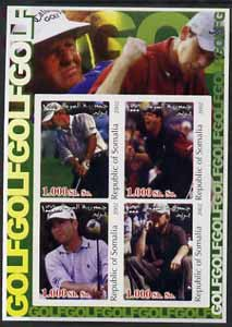 Somalia 2002 Golf #2 imperf sheetlet containing set of 4 values unmounted mint