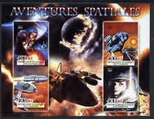 Comoro Islands 2004 Space Adventures imperf sheetlet containing 4 values unmounted mint