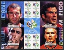 Comoro Islands 2004 Rael Madrid Football Stars (Raul, Zidane, Beckham & Figo) imperf sheetlet containing 4 values plus 4 labels unmounted mint