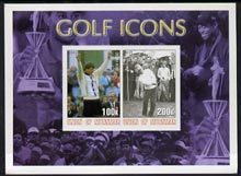 Myanmar 2001 Golf Icons (Nick Faldo & Sam Snead) imperf sheetlet containing 2 values unmounted mint