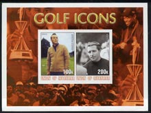 Myanmar 2001 Golf Icons (Arnold Palmer & Gary Player) imperf sheetlet containing 2 values unmounted mint