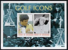 Myanmar 2001 Golf Icons (Seve Ballesteros & Ben Hogan) imperf sheetlet containing 2 values unmounted mint
