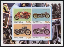 Rwanda 2001 Motorcycles #1 imperf sheetlet containing 4 values unmounted mint