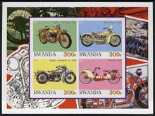 Rwanda 2001 Motorcycles #3 imperf sheetlet containing 4 values unmounted mint