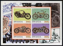 Rwanda 2001 Motorcycles #4 imperf sheetlet containing 4 values unmounted mint
