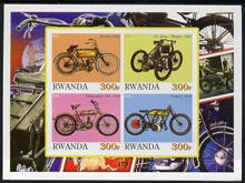 Rwanda 2001 Motorcycles #5 imperf sheetlet containing 4 values unmounted mint