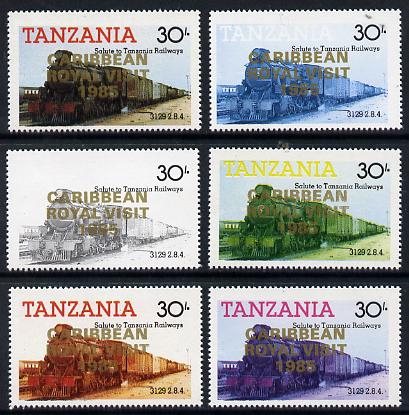 Tanzania 1985 Locomotive 3129 30s value (SG 433) unmounted mint perf set of 6 progressive colour proofs each with 'Caribbean Royal Visit 1985' opt in gold*