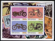 Rwanda 2001 Motorcycles #6 imperf sheetlet containing 4 values unmounted mint