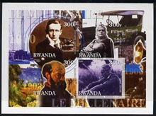 Rwanda 2001 Millennium 1900's imperf sheetlet containing 4 values (Marconi, Caruso,Henry Ford & Cezanne) unmounted mint