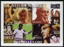 Rwanda 2001 Millennium 1950's imperf sheetlet containing 4 values (Marilyn, Nehru, Pele & Elvis) unmounted mint
