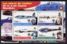 Burundi 2004 Aircraft of World War II #02 perf sheetlet containing 4 values each with Scout Logo and showing Churchill, Roosevelt, Stalin & De Gaulle unmounted mint