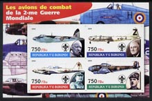 Burundi 2004 Aircraft of World War II #02 imperf sheetlet containing 4 values each with Scout Logo and showing Churchill, Roosevelt, Stalin & De Gaulle unmounted mint