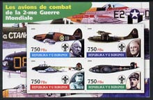 Burundi 2004 Aircraft of World War II #03 imperf sheetlet containing 4 values each with Scout Logo and showing Churchill, Roosevelt, Stalin & De Gaulle unmounted mint
