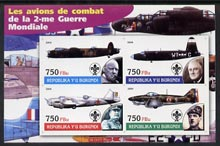 Burundi 2004 Aircraft of World War II #04 imperf sheetlet containing 4 values each with Scout Logo and showing Churchill, Roosevelt, Stalin & De Gaulle unmounted mint