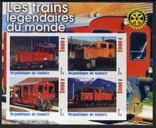 Guinea - Conakry 2003 Legendary Trains of the World #01 imperf sheetlet containing 4 values with Rotary Logo, unmounted mint
