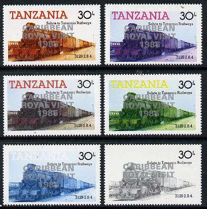Tanzania 1985 Locomotive 3129 30s value (SG 433) unmounted mint perf set of 6 progressive colour proofs each with 'Caribbean Royal Visit 1985' opt in silver*
