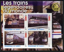 Guinea - Conakry 2003 Legendary Trains of the World #03 imperf sheetlet containing 4 values with Rotary Logo, unmounted mint