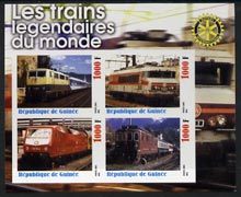 Guinea - Conakry 2003 Legendary Trains of the World #05 imperf sheetlet containing 4 values with Rotary Logo, unmounted mint