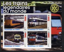Guinea - Conakry 2003 Legendary Trains of the World #06 imperf sheetlet containing 4 values with Rotary Logo, unmounted mint
