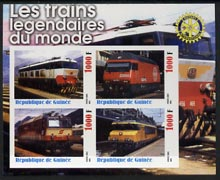 Guinea - Conakry 2003 Legendary Trains of the World #07 imperf sheetlet containing 4 values with Rotary Logo, unmounted mint