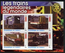 Guinea - Conakry 2003 Legendary Trains of the World #09 imperf sheetlet containing 4 values with Rotary Logo, unmounted mint