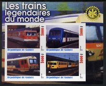 Guinea - Conakry 2003 Legendary Trains of the World #10 imperf sheetlet containing 4 values with Rotary Logo, unmounted mint