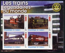 Guinea - Conakry 2003 Legendary Trains of the World #11 imperf sheetlet containing 4 values with Rotary Logo, unmounted mint