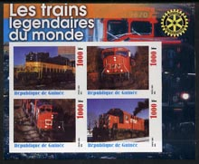 Guinea - Conakry 2003 Legendary Trains of the World #12 imperf sheetlet containing 4 values with Rotary Logo, unmounted mint