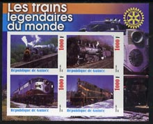 Guinea - Conakry 2003 Legendary Trains of the World #13 imperf sheetlet containing 4 values with Rotary Logo, unmounted mint