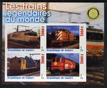 Guinea - Conakry 2003 Legendary Trains of the World #14 imperf sheetlet containing 4 values with Rotary Logo, unmounted mint