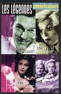 Comoro Islands 2004 Legends #01 imperf sheetlet containing 4 values Laurence Olivier, K Hepburn, Vivien Leigh, Laurel & Hardy unmounted mint
