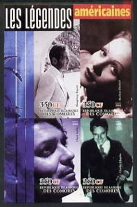 Comoro Islands 2004 Legends #02 imperf sheetlet containing 4 values H Bogart, Marlene Dietrich, Clark Gable & Charlie Chaplin unmounted mint