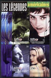 Comoro Islands 2004 Legends #03 perf sheetlet containing 4 values James Dean, Audrey Hepburn, Kirk Douglas & Grace Kelly unmounted mint