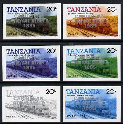 Tanzania 1985 Locomotive 6004 20s value (SG 432) unmounted mint imperf set of 6 progressive colour proofs each with 'Caribbean Royal Visit 1985' opt in silver*