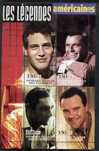 Comoro Islands 2004 Legends #04 perf sheetlet containing 4 values Paul Newman, Frank Sinatra, Sean Connery & Jack Lemmon unmounted mint