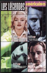 Comoro Islands 2004 Legends #05 perf sheetlet containing 4 values Marilyn, Cary Grant, Ingrid Bergman & Marlon Brando unmounted mint
