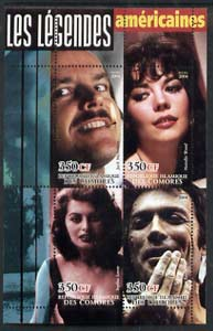 Comoro Islands 2004 Legends #06 perf sheetlet containing 4 values Jack Nicholson, Natalie Wood, Sophia Loren & Clint Eastwood unmounted mint