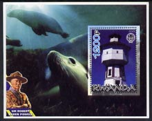 Rwanda 2005 Lighthouses perf m/sheet #01 with Scout Logo, background shows Seals & Baden Powell, unmounted mint
