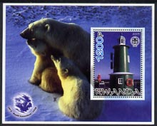Rwanda 2005 Lighthouses perf m/sheet #02 with Scout Logo, background shows Seals & Baden Powell, unmounted mint